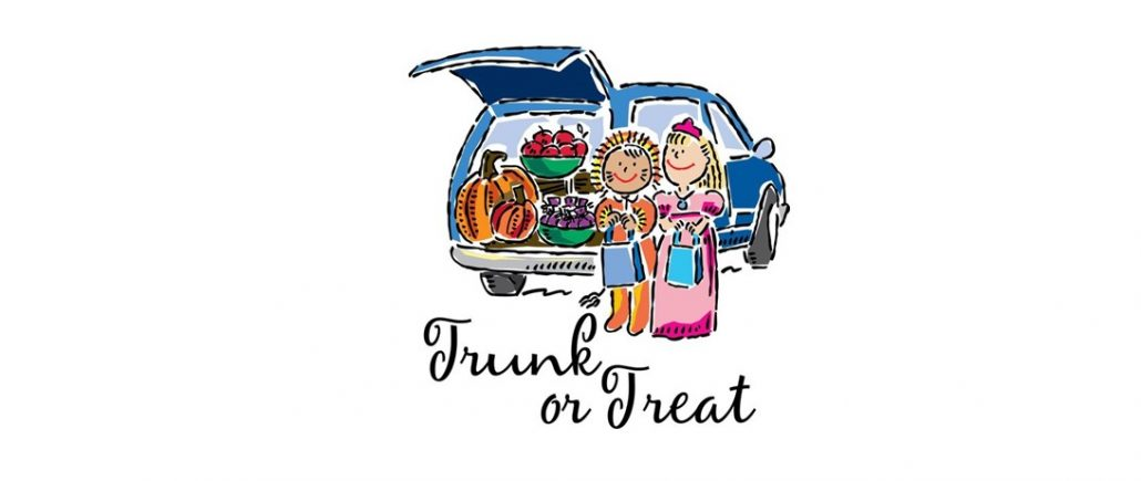 Cartoon of children in lion & princess costume holding goody bags with words Trunk or Treat