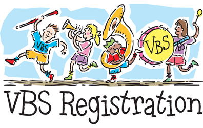 Cartoon of children playing instruments with title VBS Registration